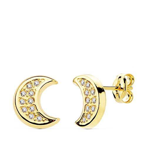 Ohrringe Mädchen Damen 18K Gold Halbmond gelb 9mm -