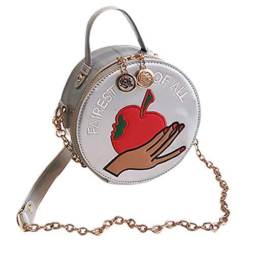 Mitlfuny handbemalte Ledertasche, Schultertasche, Geschenk, Handgefertigte Tasche,Frauen-modische runde Druckketten-Umhängetaschen-Damen-Freizeit-Partei-Handtaschen