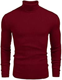 WearIndia Mens Ribbed Slim Fit Knitted Pullover Turtleneck Sweater