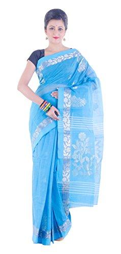 Tantuja Women's Tangail Handloom Cotton Saree Without Blouse Piece (Blue)