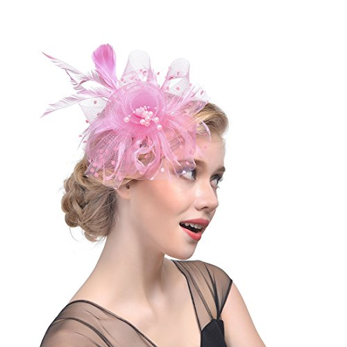 er Fascinator Polka Dot Mesh Blume mit kleinen Perlen Haarspange Stirnband (Victoria Halloween-events)