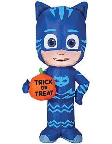 Gemmy Funkelndes 3,5'Airblown Catboy W/Trick or Treat Kürbis Halloween aufblasbar