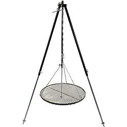 Schwenkgrill Dreibein Grill Gestell 1,30 m Kettenhöhenverstellbar mit Grillrost Edelstahl 50 cm