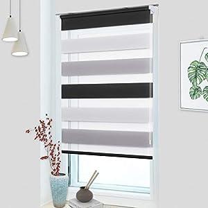 OUBO Doppelrollo Klemmfix ohne Bohren 60x 150 cm (BxH) Weiß-Grau-Anthrazit Fenster Duo Rollo - lichtdurchlässig und verdunkelnd Wandmontage Deckenmotage Sichtschutz Rollo mit Klemmträgern