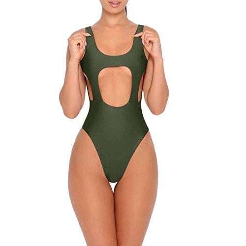 Costumi Da Bagno Interi Da Donna In Puro Cotone Backless Army Green
