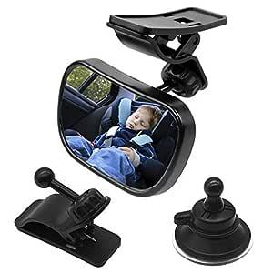 Natuce 1 Rücksitzspiegel 2 Halterung Rücksitzspiegel Für Babys Kinder Spiegel Auto Baby Sicherheitsspiegel Für Kinderschale Babyschale Rückwärtssitz Rückspiegel Auto Mit 360 Schwenkbar Baby