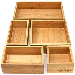 Maison & White Organisateur de tiroir en bambou 5 pièces   Ensemble de 5 boîtes de rangement en bois durable   Tailles Assorties   Polyvalent et configurable   Solution de stockage à domicile