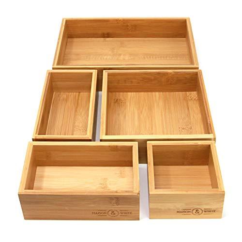 Maison & White Organisateur de tiroir en bambou 5 pièces | Ensemble de 5 boîtes de rangement en bois durable | Tailles Assorties | Polyvalent et configurable | Solution de stockage à domicile