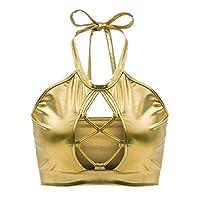 WSPLYSPJY Women Halter Shiny Metallic Crop Top Sexy Cut Out Bikini Tank Vest Bra Golden S