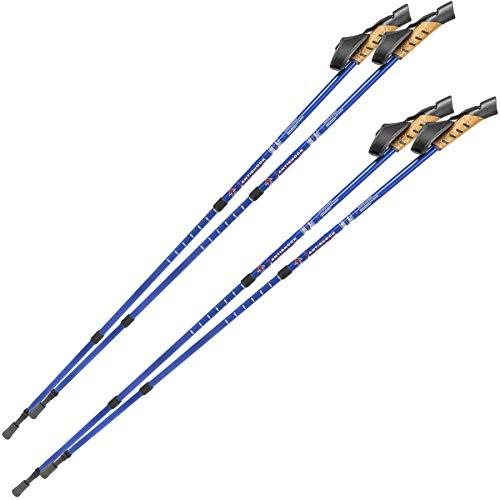 TecTake Nordic Walking Stöcke mit Antischock Dämpfungssystem stufenlos verstellbar - Diverse Farben und Mengen - (2X Blau | Nr. 401980)