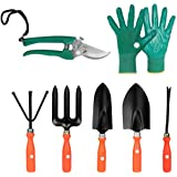 Kraft Seeds Gate Garden Spectacular Gardening Tools Set with Heavy Gardening Cut Tool and One Pair Hand Gloves (Orange Handle and Black Metal)