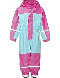 Playshoes Baby-Mädchen Regenjacke Wasserdichter Regen-Overall, Regenanzug mit Fleece-Futter, Reflektoren