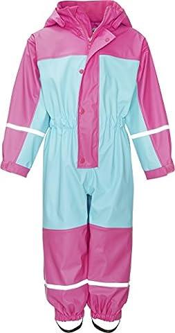 Playshoes Baby-Mädchen Regenjacke Wasserdichter Regen-Overall, Regenanzug mit Fleece-Futter, Reflektoren Türkis (Türkis 15), 104