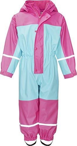 Playshoes Baby Wasserdichter Regen-Overall, Regenanzug Mit Fleece-Futter, Reflektoren Regenjacke, Türkis 15, 86 Fleece Regenjacke