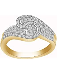 Lolls 1.08 CT Round Cubic Zirconia Sterling Silver 14K Yellow Gold Over Cluster Bypass Engagement Ring [AMR1030...