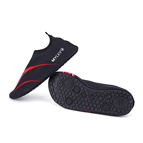 HYSENM Scarpa acquatico 360° Flessibile Leggero Asciugatura Rapida suola antiscivolo per sport spiaggia piscina Surf condotta Yoga Rosso