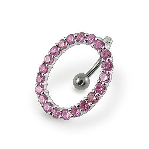 Bijou de corps anneau de nombril rectangle pendant avec pierres Argent Sterling avec 14G-3/8 Inch (1.6x10MM) Banana Acier chirurgical 316L Pink