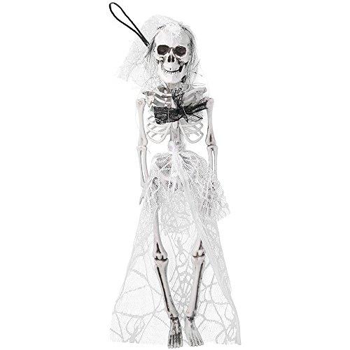 com-four® Halloween Deko Skelett Braut, hängendes Skelett als Tote Braut für Halloween, Fasching, Karneval und andere Themen Partys, 40 cm (01 Stück - Braut)