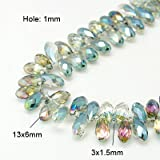 nbeads 5Stränge aus galvanisiert Glas facettiert Drop Perlen Stränge ab Farbe vergoldet, Aqua, 13x 6, Loch: 1mm, über 100/Strang, 41,9cm
