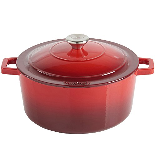 VonShef 4.5 Litre Enamel Coated Round Cast Iron Casserole Dish
