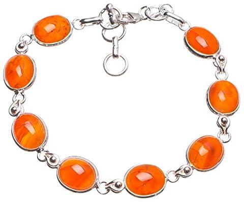 StarGems(tm) Natural Carnelian Handmade Mexican 925 Sterling Silver Tennis Bracelet 6 3/4-7 1/2