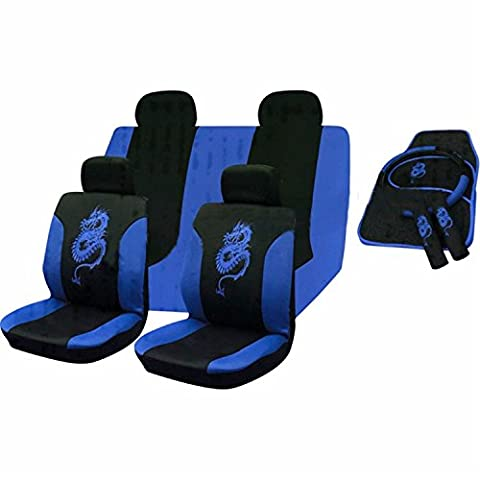 XtremeAuto® 15 Piece Blue Tribal Dragon Front and Rear Seat Cover Set With Seat Belt Harness Pads Mats & Steering Wheel Protector