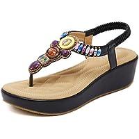 Clip-eólica nacional pendiente con sandalias Bohemia bordada artesanal zapatos ciudad balnearia de Roma los estudiantes zapatos de mujer negro ,36,