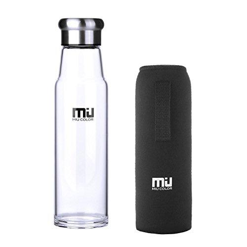 MIU COLOR–Botella portátil de vidrio de borosilicato botella au
