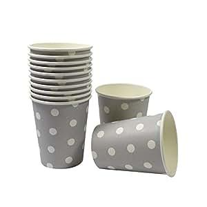 Lot de 12 gobelets jetables en carton gris/pois blancs