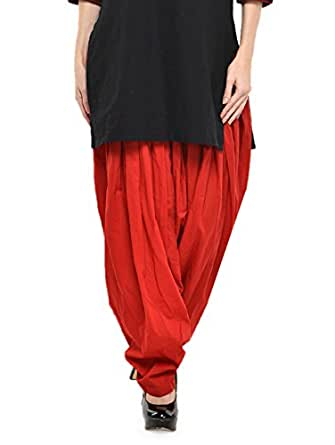 Stylenmart Women Cotton Solid Full Patiala Salwar (Stmapa078633 _Red _Free Size)