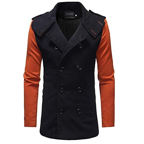 Lange Winterjacke Herren Briskorry Männer Winter Wollmantel Trenchcoat Doppelreiher Lange Business Übergangs Mantel Windbreaker Jacken Outwear