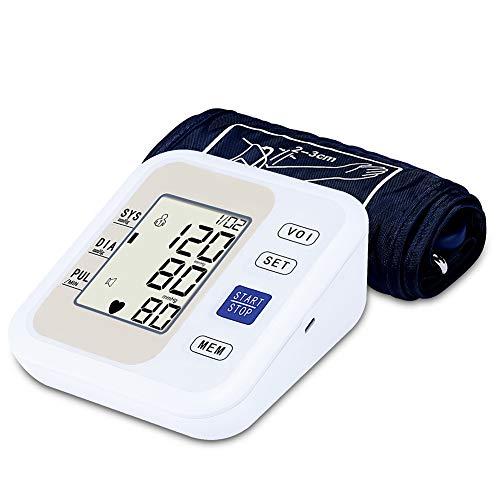 Yuehg Automatische Elektronischer Blutdruck Monitor Präzise und Tragbar mit Digital LCD Display Real Voice 2 * 99 Speicherfunktion,White