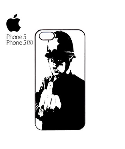 Banksy Policeman Copper Middle Finger Mobile Cell Phone Case Cover iPhone 5c Black Weiß
