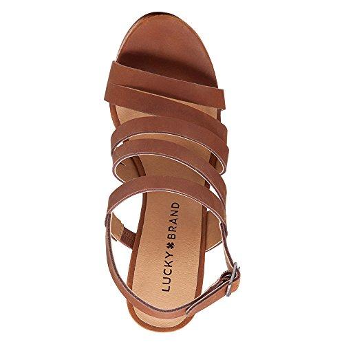Lucky Brand Larinaa Femmes Cuir Sandales Compensés Almond