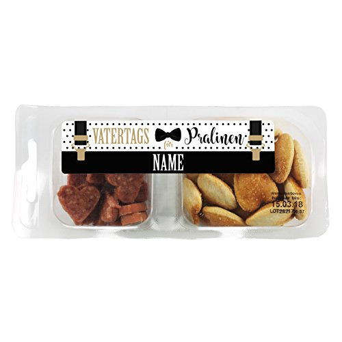 Herz & Heim® Deftige Snackbox - Vatertragspralinen - mit Namen des Papas im Etikett