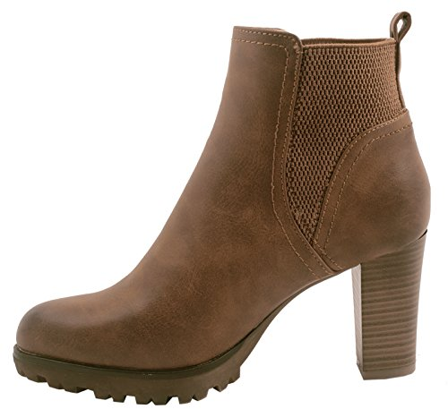 Elara Ankle Boots | Trendige Damen Stiefeletten | Blockabsatz Plateau | Chunkyrayan Khaki 38 - 2