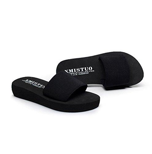 Damen Pantoletten Anti-Rutsche Flache Sommer Cool Freizeit Einfache Modische Schlappen Hausschuhe Schwarz