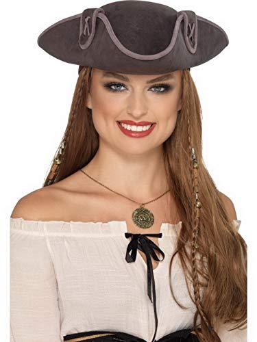 Luxuspiraten - Kostüm Accessoires Zubehör Piraten Kapitäns Hut Dreispitz, perfekt für Karneval, Fasching und Fastnacht, Grau (Halloween Für Depp Kostüme Johnny)