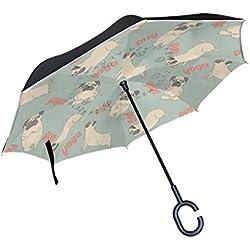 bennigiry Yog Pug perro impresión trasera coche paraguas, de doble capa superior resistente al viento y protección UV paraguas invertido con forma libre manos Mango