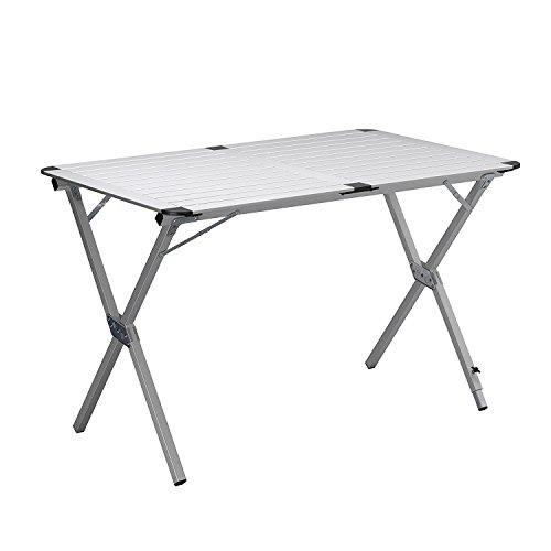 Tavolo da campeggio 140x70x70 Regolabile in altezza- pieghevole arrotolabile. tavolo per picnic - Tavolo per fiere - tavolo per giardino - tavolo in alluminio - piano avvolgibile - tavolino