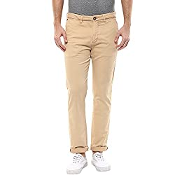 Spykar Mens Beige Slim Fit Mid Rise Trousers (Rico) (36)