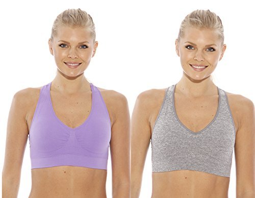 e2f27c4144 Just Intimates Espalda Cruzada Sujetador Deportivo para Mujer (Pack de 2) -  -