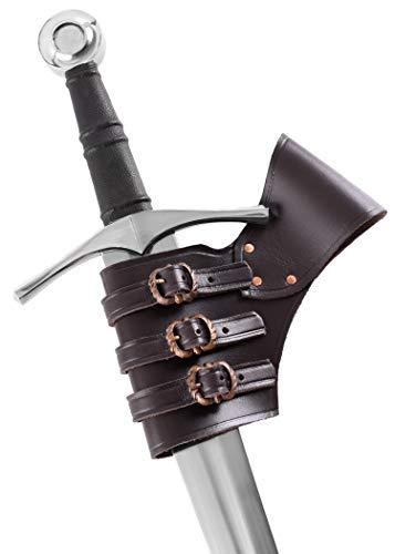 Er Kostüm Mann Schwert - Ulfberth Schwerthalter braun, verstellbar aus Leder Schwertgürtelhalter - Waffenhalter - Mittelalter Schwert Halter - LARP
