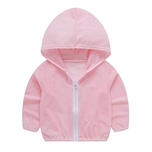 Kleider Kleinkinder Jungen Mädchen Sommer Sonnenschutz Jacken Solid Zip Jacke Outerwear mit Kapuze, unisex (Kleinkinder Blauen Mantel Tragen Kostüme)