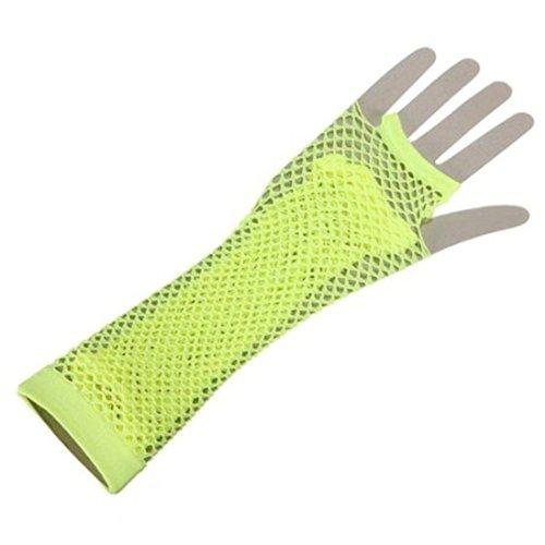 Sexy Neon Fischnetz Fingerlose Lange Handschuhe Bein Arm Manschette Goth Punk Fancy Kleid Geschenk (Lange Fischnetz Neon Handschuhe)