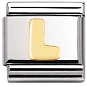 Nomination Composable Classic BUCHSTABEN Edelstahl und 18K-Gold (L) 030101