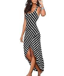 pqdaysun Women's Casual Sundress Sleeveless Stripes Loose Long Beach Dress