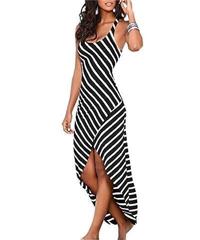 pqdaysun Women's Casual Sundress Sleeveless Stripes Loose Long Beach Dress Black UK 8