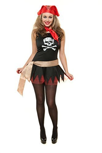Sexy Pirate Girl Komplettes Outfit Totenkopf Karibik Party Fancy Kostüm (Childrens Fancy Kleider Kostüme)
