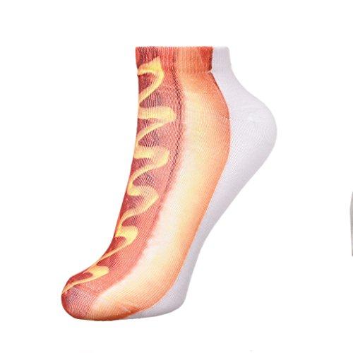 Unisex Lecker Hotdog Muster Kurzen Socken Keine Karte Baumwolle Warm Besatzung Socken (Mädchen-socken Verschönert)